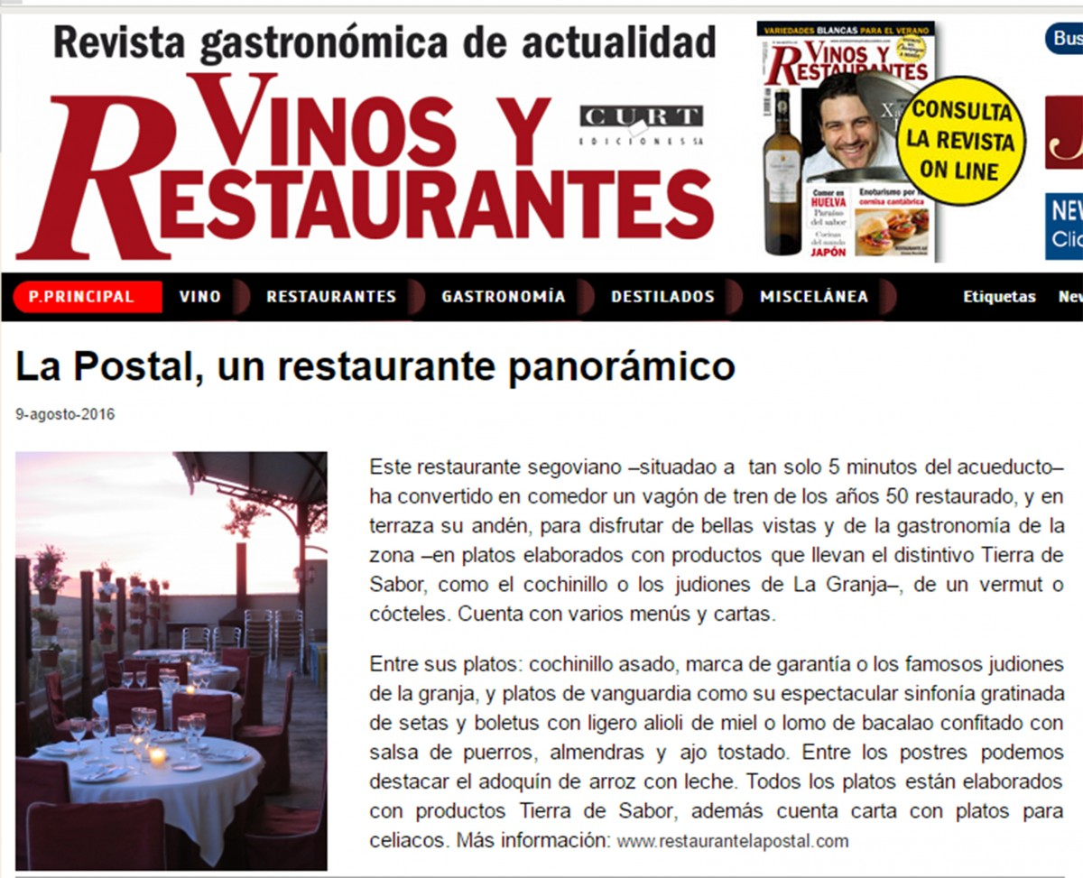 Vinos y Restaurantes Agosto 2016